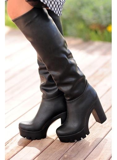 Pembe Potin Çizme Siyah